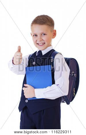 Portrait of happy blonde schoolboy isolated on white background