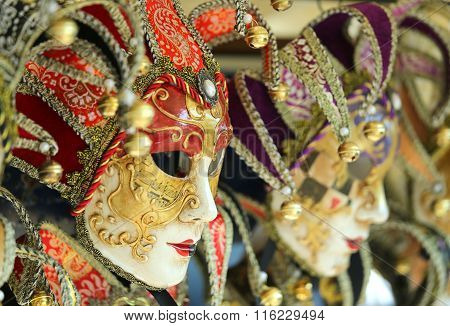 Venice Italy Golden Carnival Mask During Festivities