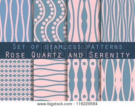 Geometric Seamless Pattern. Rose Quartz And Serenity Violet Colors. The Pattern For Wallpaper, Tiles