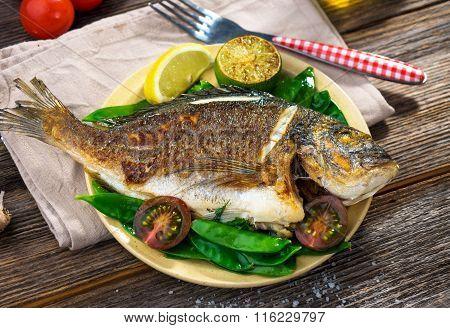 Grilled sea bream fish