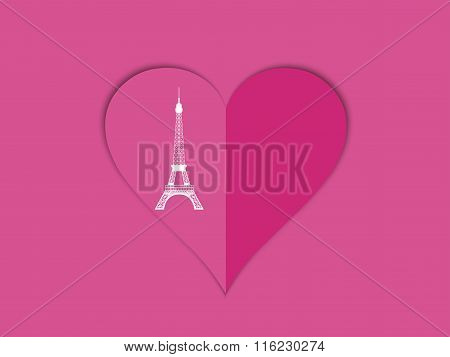 The Eiffel Tower And The Heart With Shadow. Romantic Template For Valentine's Day. Postcard Design E