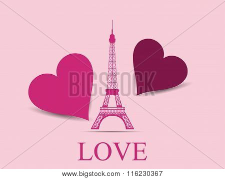 Eiffel Tower With Hearts. Paris. Postcard Valentine's Day. Vector Illustration.