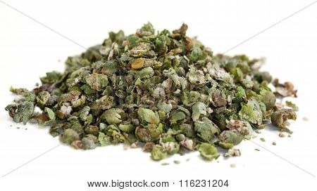 Crushed Green Peppercorns (isolated On White)