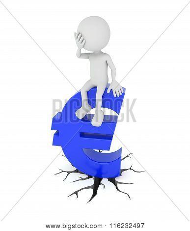 White 3D Human Sits On Euro Symbol