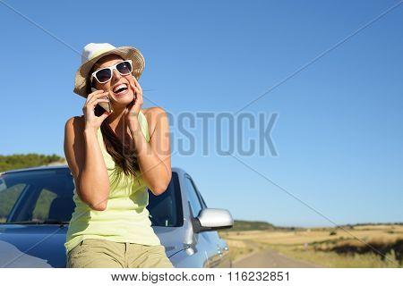 Woman On Car Roadtrip Having Fun