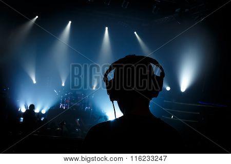 Sound manager on rock concert