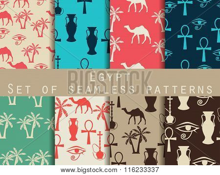 Egypt. Set Of Seamless Patterns. Symbols Of Egypt. Retro Colors. Vector Illustration.