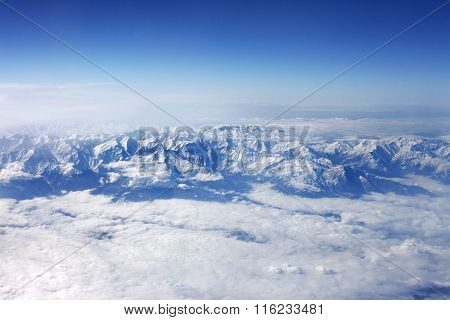 Winter Mountains And White Clouds