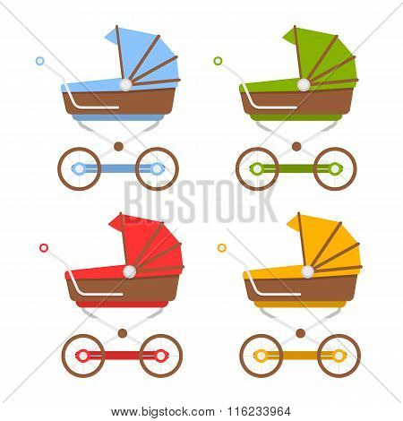 Set baby prams. Flat vector illustration for your design.
