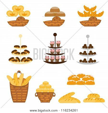 Set of different types of bakery products