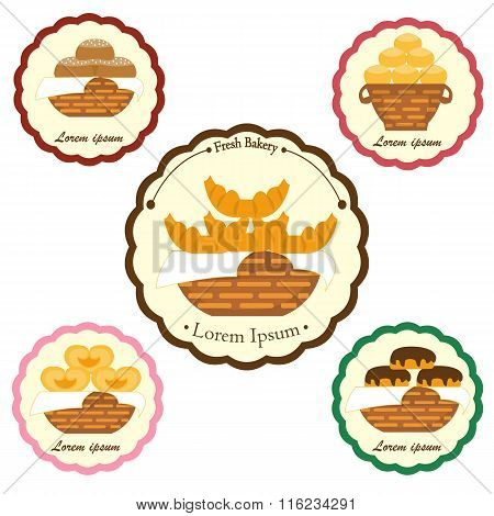 Set of vector bakery labels