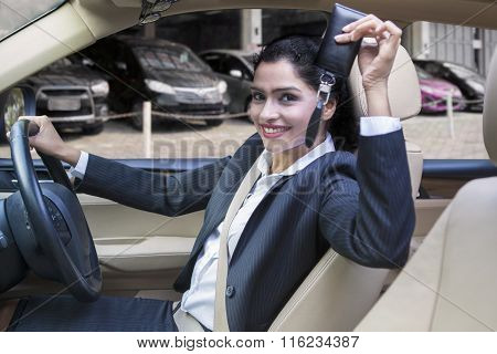 Indian Woman Showing New Car Key