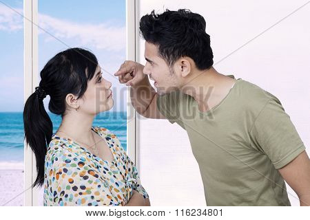 Man Shouting At His Wife At Home