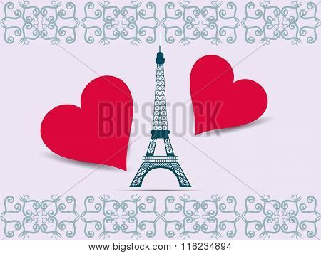 Eiffel Tower. Valentine. Postcard From The Eiffel Tower And The Hearts. Vector Illustration.