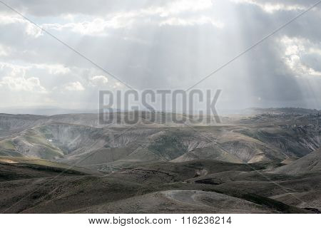 Israeli mountains in spring at sunset time