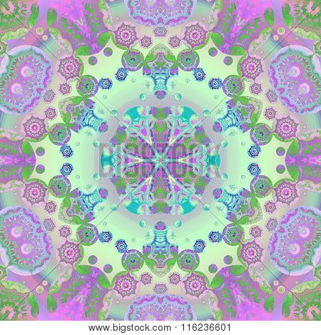 Seamless floral ornament violet purple blue green