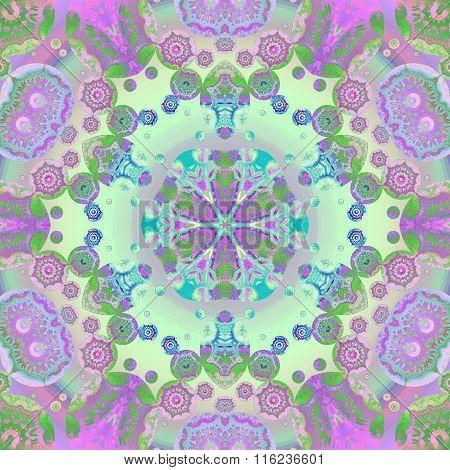 Seamless floral ornament violet purple blue green