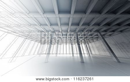 Concrete Room, 3 D Illustration, Wire-frame Lines
