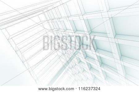 Modern Structure, 3D Illustration, Wire-frame Effect
