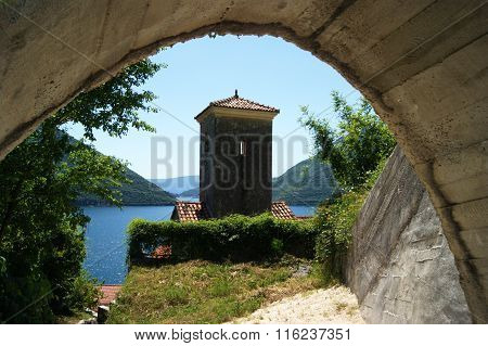 The bell tower in Perast
