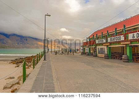Harbor With Boats And Seafood Restaurants, Hout Bay, Cape Town, South Africa, Africa