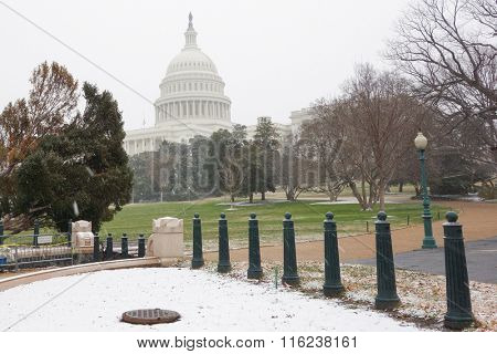 The Capitol in blizzard - Washington DC USA