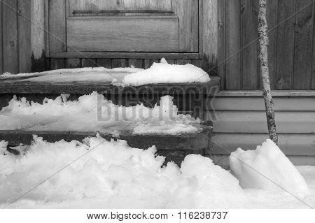 Snow Melting Near Door