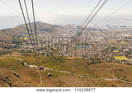 Cable Car On Table Mountain In Cape Town