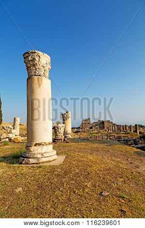 And The Roman Temple   Old Construction In  Column