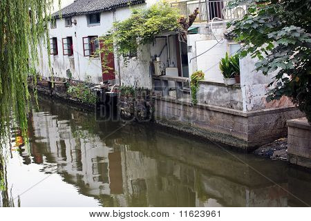 Ancient Chinese Houses Reflection Canals Suzhou China
