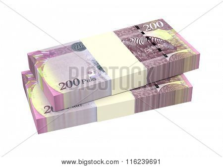Botswana pula bills isolated on white background. Computer generated 3D photo rendering.