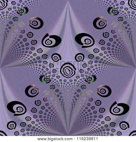 Seamless spiral and diamond pattern purple black shiny
