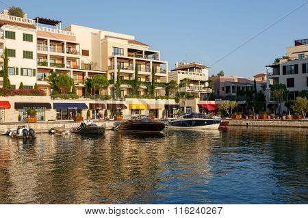 Tivat, Montenegro  - August 30, 2015: Hotels, Shops And Yachts In A Luxury Yacht Marina In Porto Mon