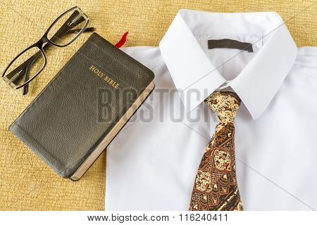 Business Man Style Clothes And Holy Bible At Home