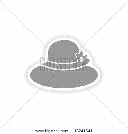 paper sticker on white background lady hat