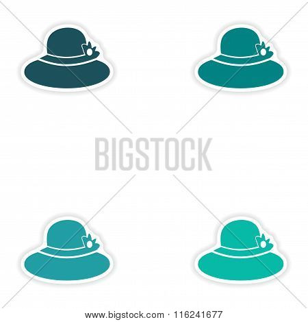 Set of paper stickers on white background lady hat