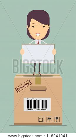 Delivery woman.Vector illustration