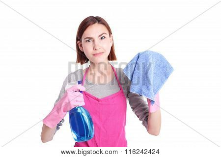 Unhappy Woman Mother Cleaning