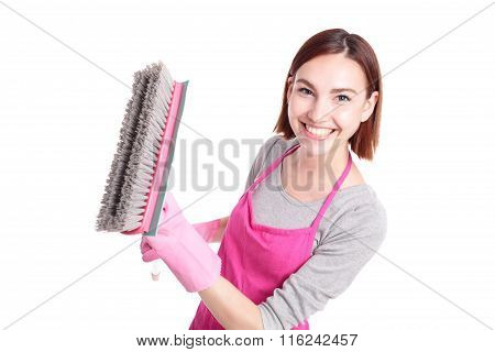 Happy Cleaning Woman Housewife
