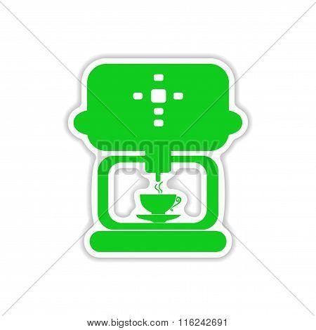 icon sticker realistic design on paper coffee maker