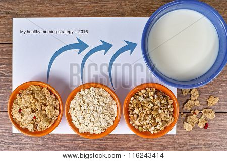 Four small bowls with different cereals and bowl with milk, strategy