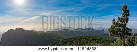 Panorama, mountain range, view from Pico de las Nieves, Gran Canaria