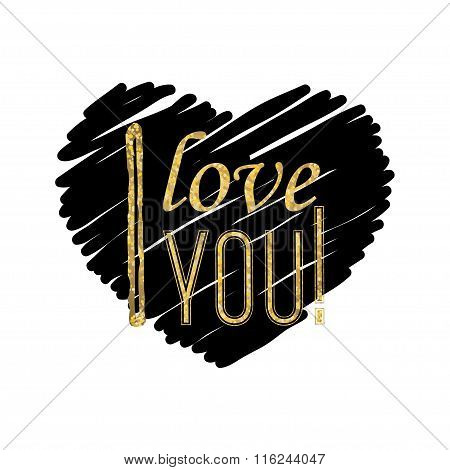 I love you - typographic lettering on black heart