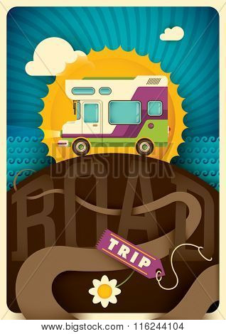 Road trip background with recreational vehicle. Vector illustration.