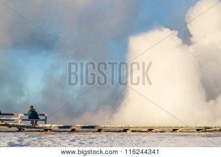 Tourist And Geyser On A Yellowstone Boardwalk