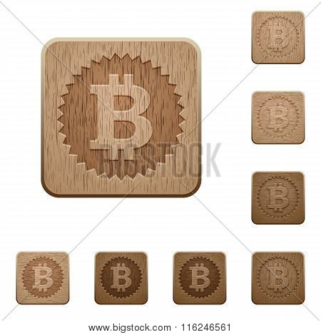 Bitcoin Sticker Wooden Buttons