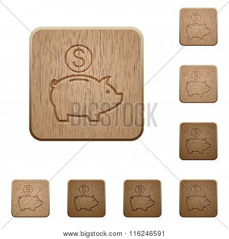 Dollar Piggy Bank Wooden Buttons
