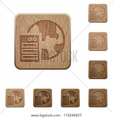 Web Hosting Wooden Buttons