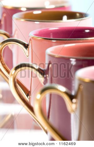 Row Of Colorful Coffee Cups