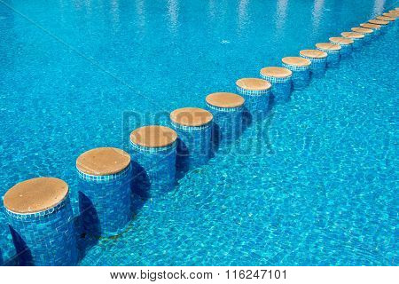 Close-up Of Swimming Pool And A Trail Of Steps